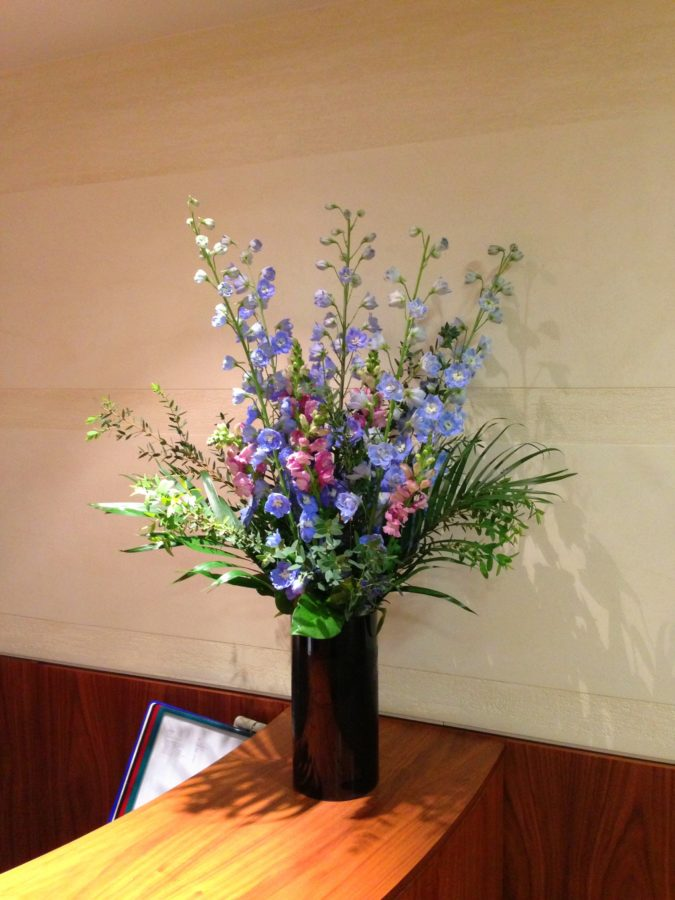 Weekly-office-flowers-blue-delphiniums-and-pink-antirrhinums